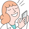 female doctor talking into smartphone