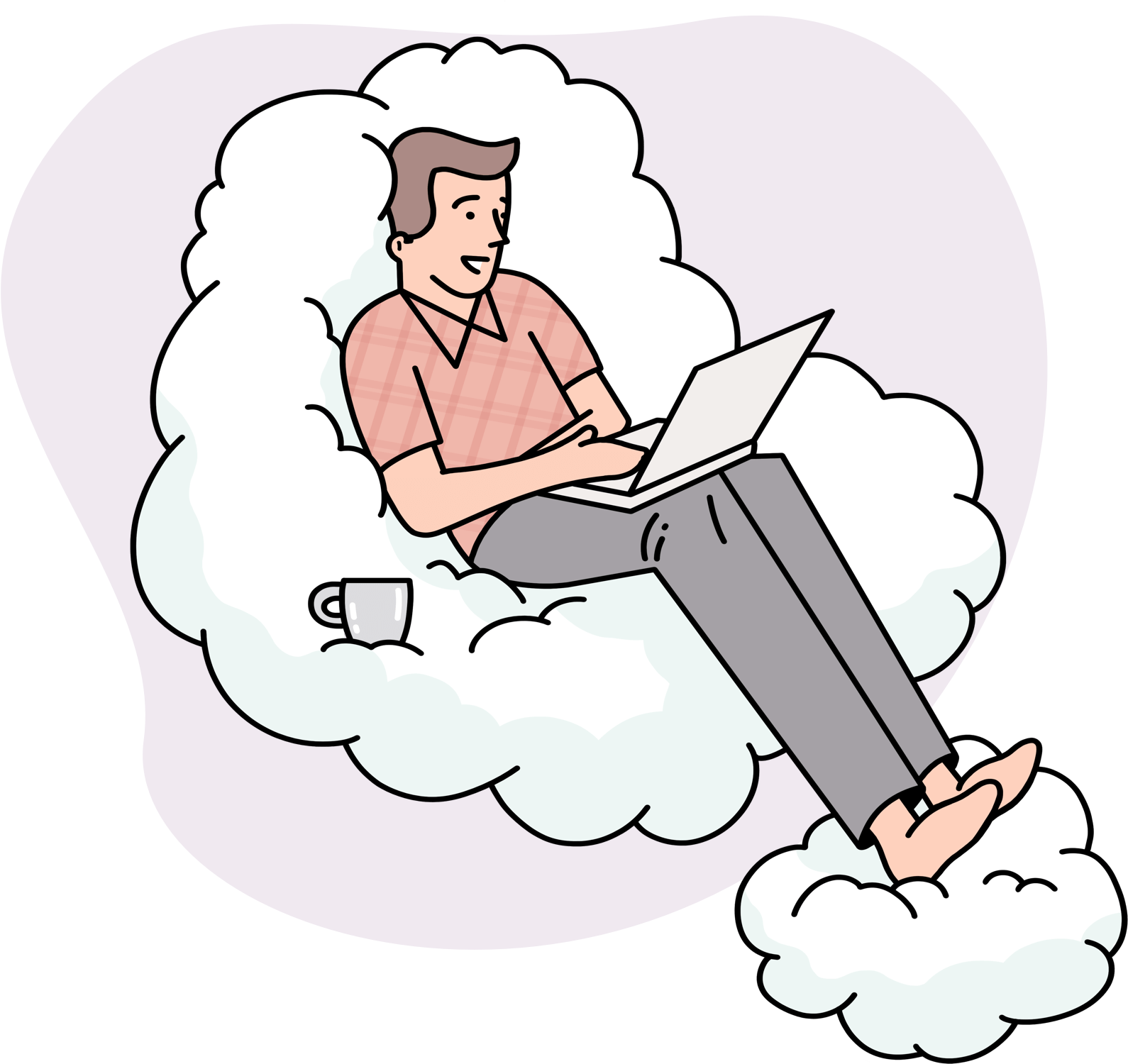 man sitting on a cloud with a laptop in hand
