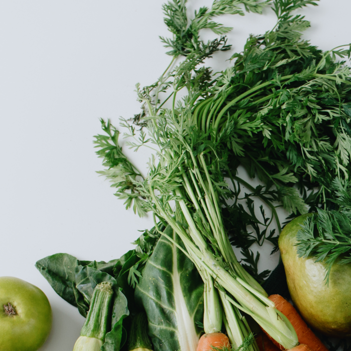 green vegetables on a grey background